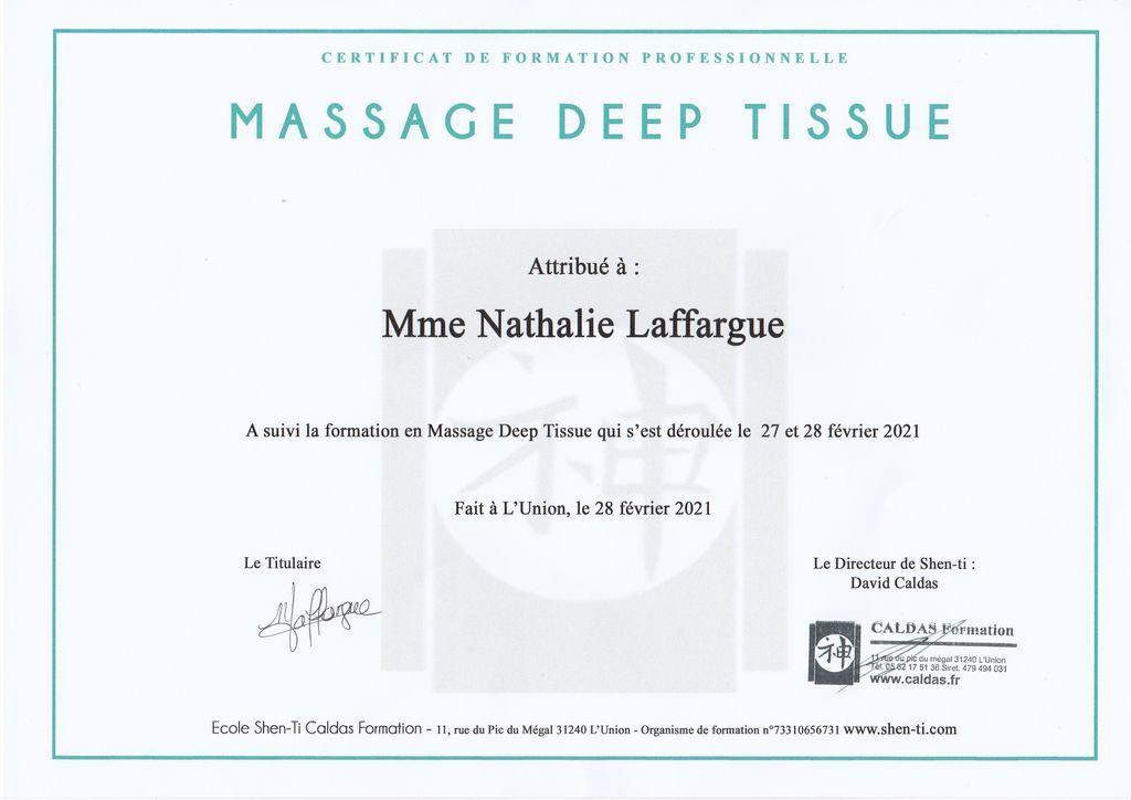 Certificat massage deep tissue