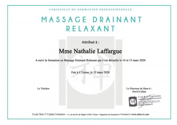 Certificat massage drainant relaxant