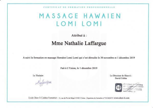 Certificat massage lomi lomi