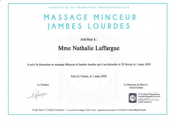 Certificat massage minceur jambes lourdes