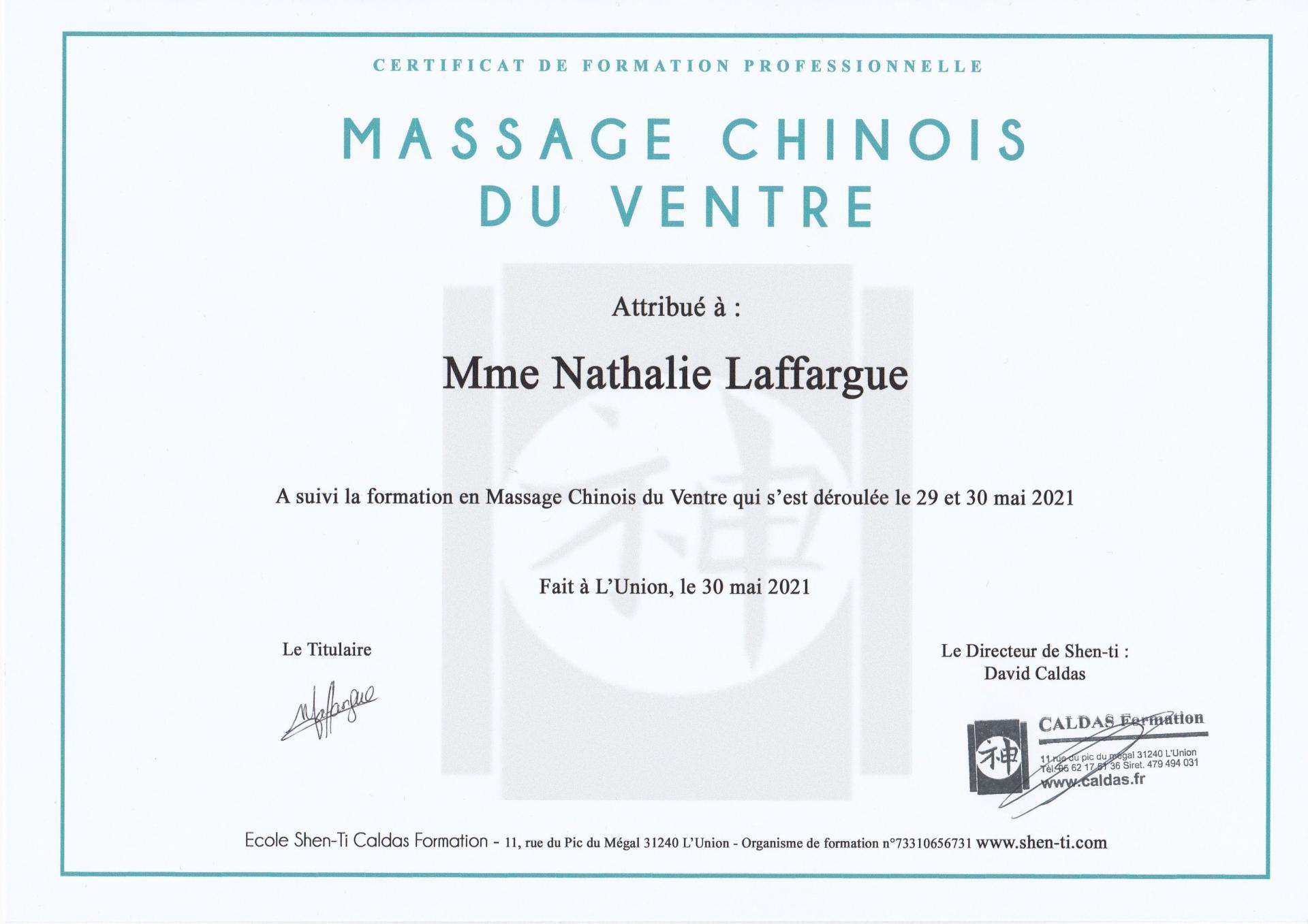 Certificat massage ventre