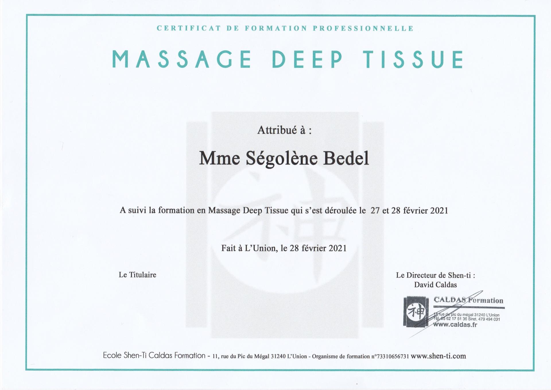 Sego certificat massage deep tissue